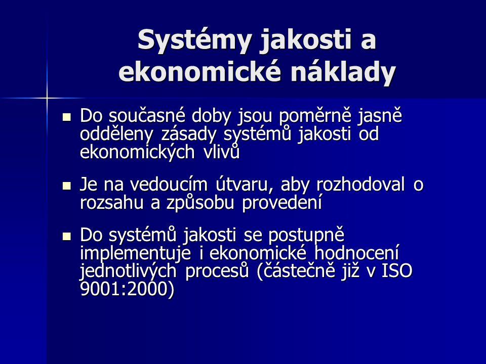 Systémy jakosti a ekonomické náklady Do současné doby jsou poměrně jasně odděleny zásady systémů jakosti od ekonomických vlivů Do současné doby jsou p