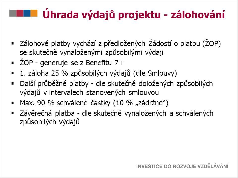 Úhrada výdajů projektu - zálohování  Zálohové platby vychází z předložených Žádostí o platbu (ŽOP) se skutečně vynaloženými způsobilými výdaji  ŽOP - generuje se z Benefitu 7+  1.