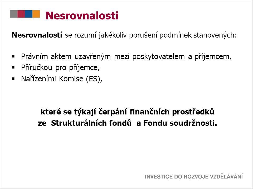 Nesrovnalosti Nesrovnalostí se rozumí jakékoliv porušení podmínek stanovených:  Právním aktem uzavřeným mezi poskytovatelem a příjemcem,  Příručkou pro příjemce,  Nařízeními Komise (ES), které se týkají čerpání finančních prostředků ze Strukturálních fondů a Fondu soudržnosti.