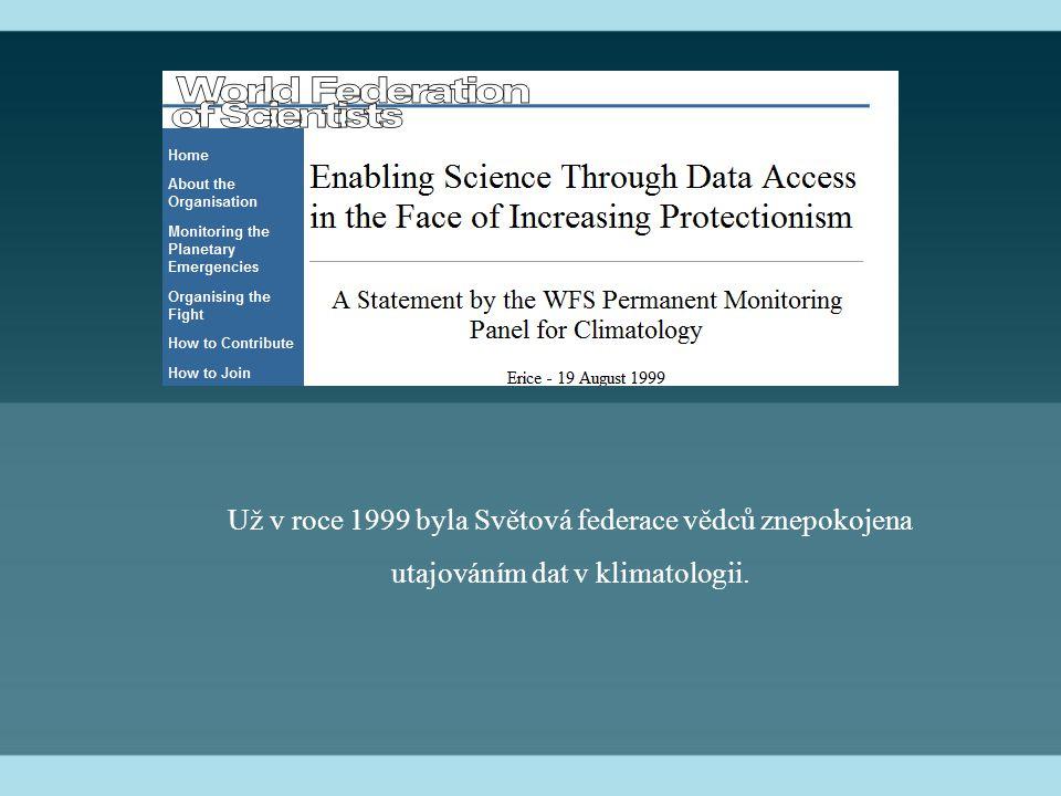 Už v roce 1999 byla Světová federace vědců znepokojena utajováním dat v klimatologii.