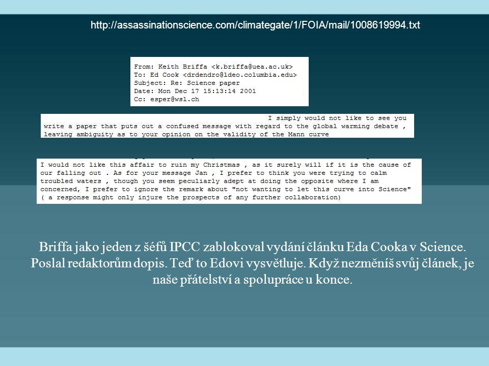Briffa jako jeden z šéfů IPCC zablokoval vydání článku Eda Cooka v Science. Poslal redaktorům dopis. Teď to Edovi vysvětluje. Když nezměníš svůj článe
