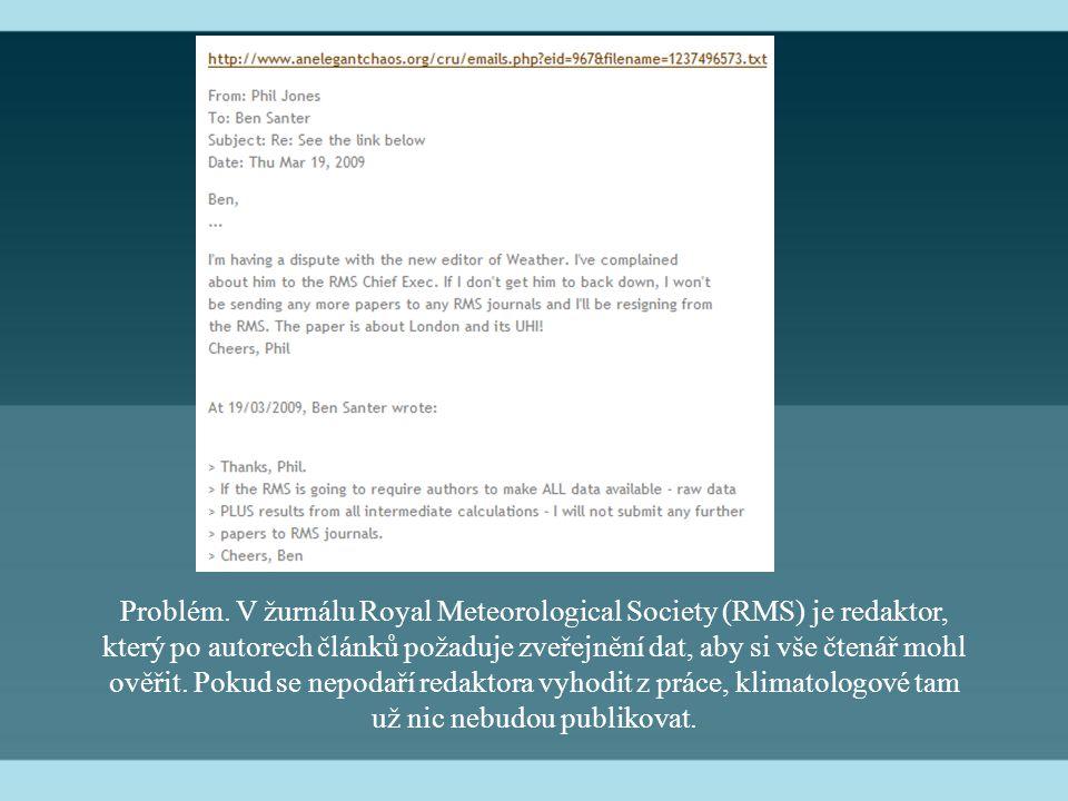 Problém. V žurnálu Royal Meteorological Society (RMS) je redaktor, který po autorech článků požaduje zveřejnění dat, aby si vše čtenář mohl ověřit. Po