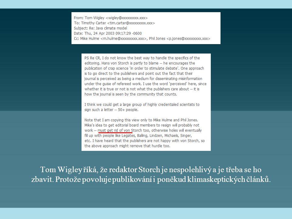 Tom Wigley říká, že redaktor Storch je nespolehlivý a je třeba se ho zbavit. Protože povoluje publikování i poněkud klimaskeptických článků.