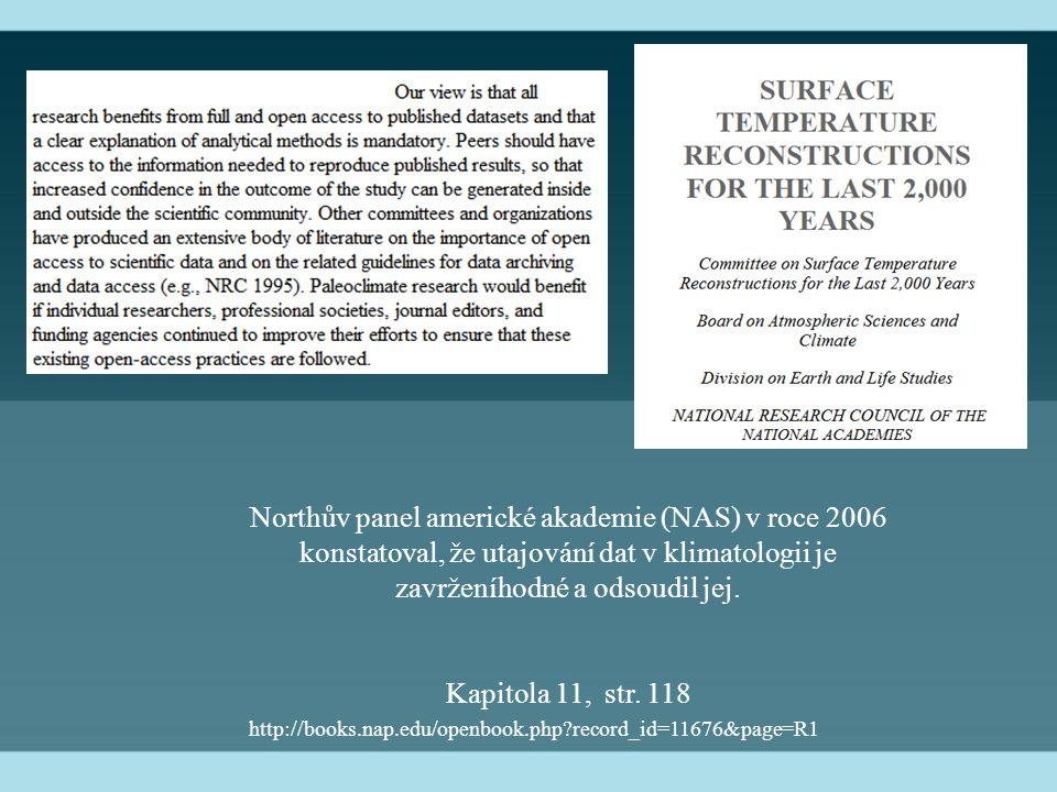 Northův panel americké akademie (NAS) v roce 2006 konstatoval, že utajování dat v klimatologii je zavrženíhodné a odsoudil jej. Kapitola 11, str. 118