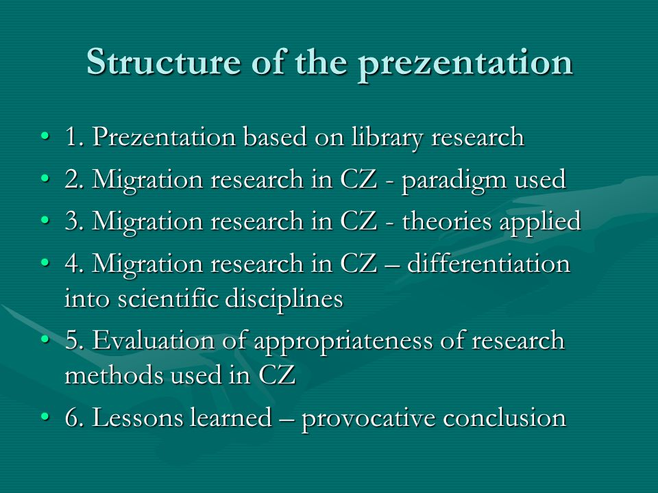 Context of migration theories - paradigms 1.