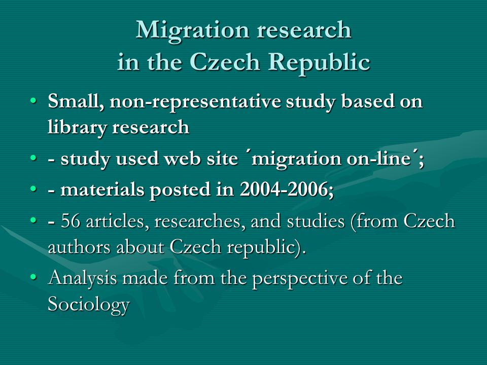 Migration research in the Czech Republic - Summary 2.