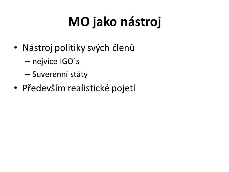 MO jako nástroj Nástroj politiky svých členů – nejvíce IGO´s – Suverénní státy Především realistické pojetí