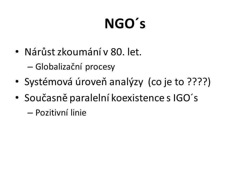NGO´s Nárůst zkoumání v 80. let. – Globalizační procesy Systémová úroveň analýzy (co je to ????) Současně paralelní koexistence s IGO´s – Pozitivní li
