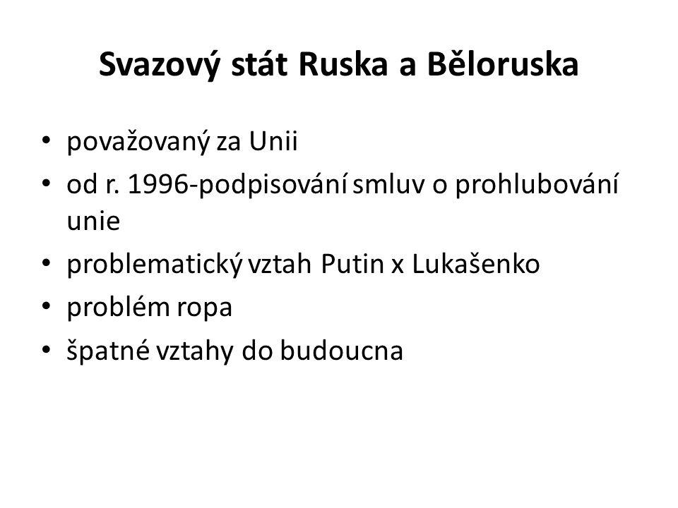 Svazový stát Ruska a Běloruska považovaný za Unii od r. 1996-podpisování smluv o prohlubování unie problematický vztah Putin x Lukašenko problém ropa