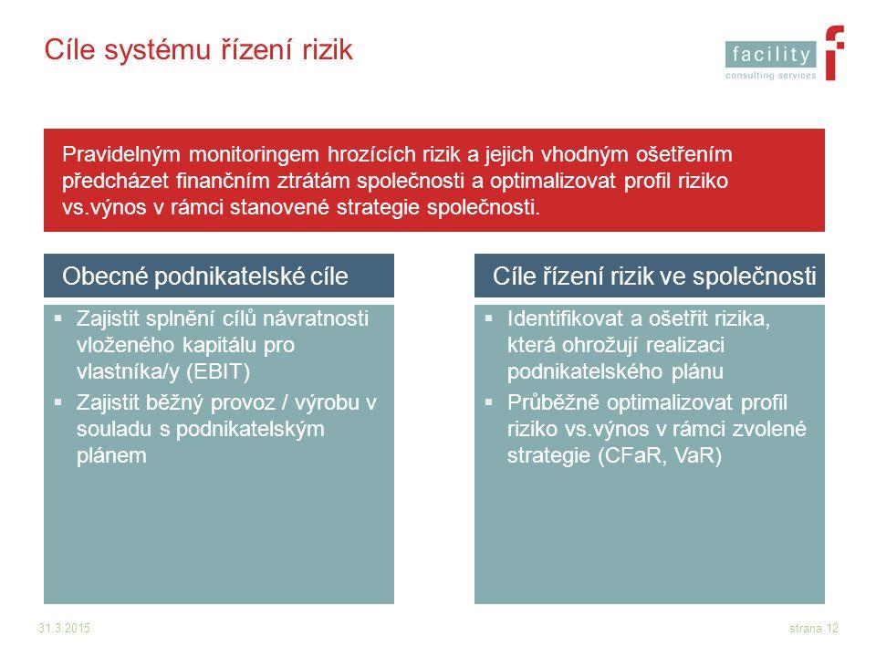 31.3.2015strana 12 Cíle systému řízení rizik  Zajistit splnění cílů návratnosti vloženého kapitálu pro vlastníka/y (EBIT)  Zajistit běžný provoz / v