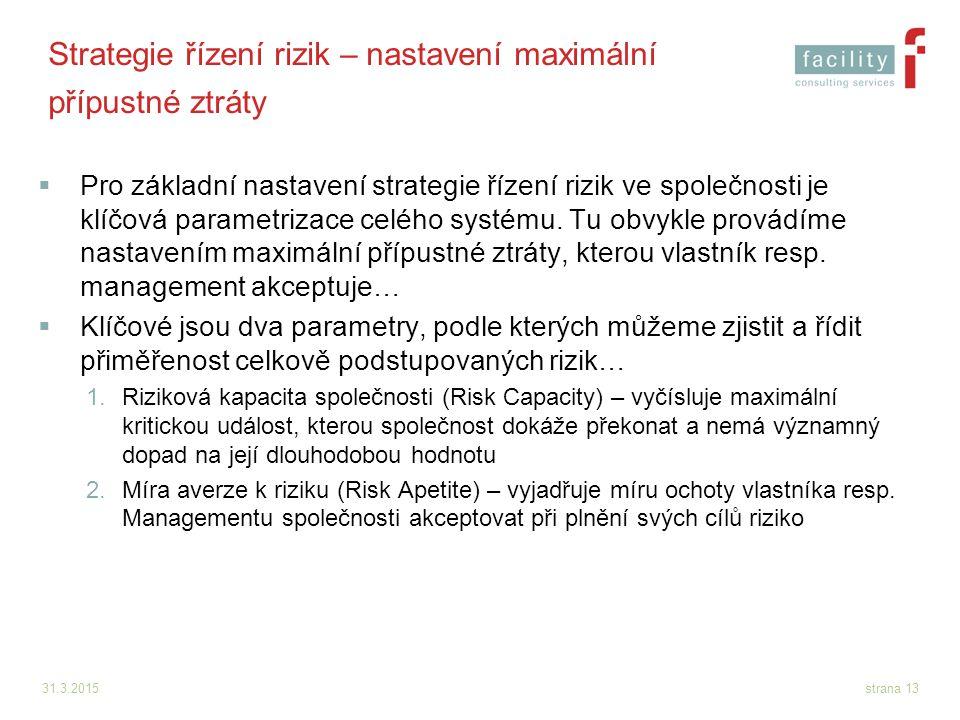 31.3.2015strana 13 Strategie řízení rizik – nastavení maximální přípustné ztráty  Pro základní nastavení strategie řízení rizik ve společnosti je klí