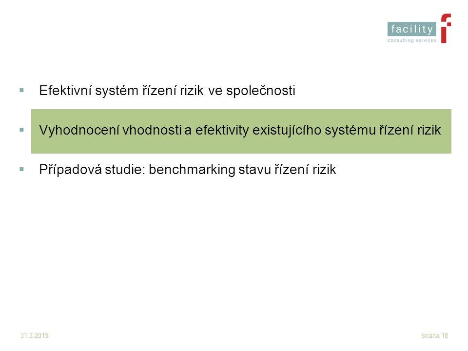 31.3.2015strana 18  Efektivní systém řízení rizik ve společnosti  Vyhodnocení vhodnosti a efektivity existujícího systému řízení rizik  Případová s
