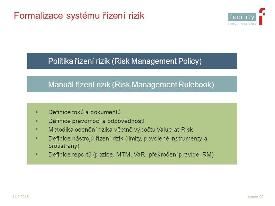 31.3.2015strana 20 Formalizace systému řízení rizik  Definice toků a dokumentů  Definice pravomocí a odpovědností  Metodika ocenění rizika včetně v