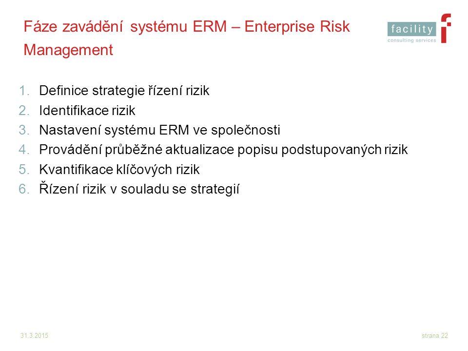 31.3.2015strana 22 Fáze zavádění systému ERM – Enterprise Risk Management 1.Definice strategie řízení rizik 2.Identifikace rizik 3.Nastavení systému E