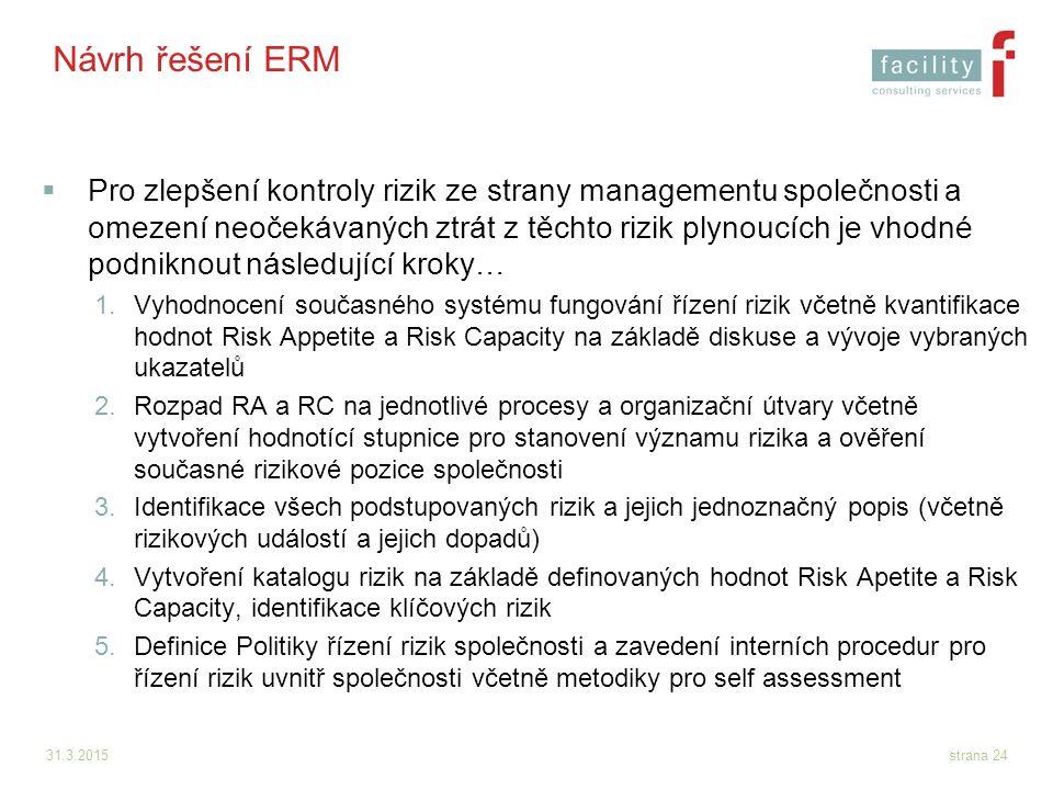 31.3.2015strana 24 Návrh řešení ERM  Pro zlepšení kontroly rizik ze strany managementu společnosti a omezení neočekávaných ztrát z těchto rizik plyno