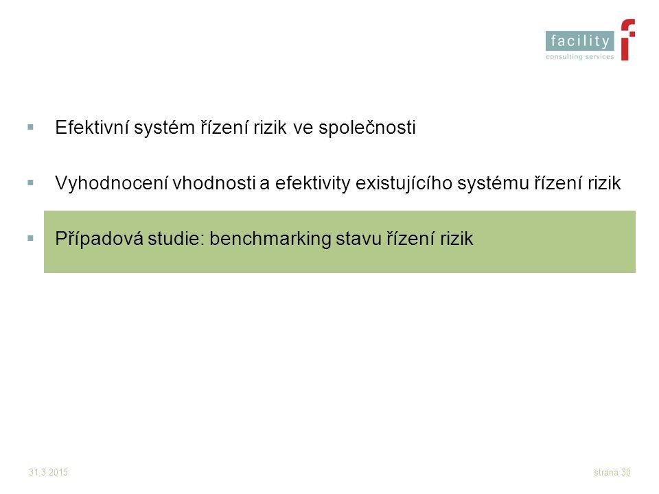 31.3.2015strana 30  Efektivní systém řízení rizik ve společnosti  Vyhodnocení vhodnosti a efektivity existujícího systému řízení rizik  Případová s