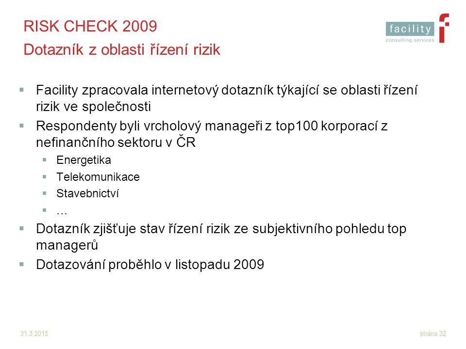 31.3.2015strana 32 RISK CHECK 2009 Dotazník z oblasti řízení rizik  Facility zpracovala internetový dotazník týkající se oblasti řízení rizik ve spol
