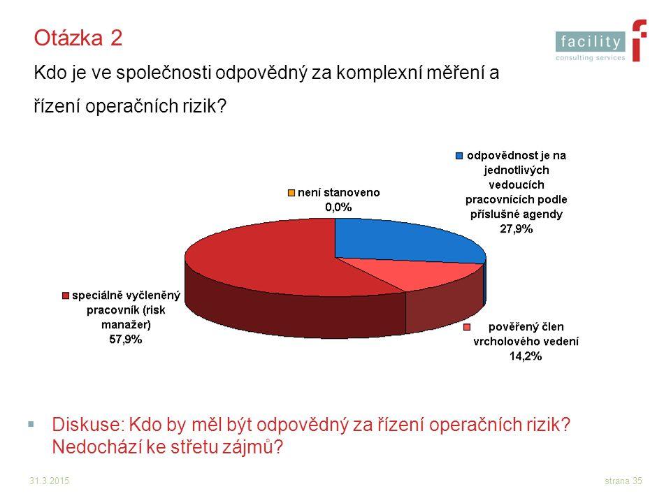 31.3.2015strana 35 Otázka 2 Kdo je ve společnosti odpovědný za komplexní měření a řízení operačních rizik?  Diskuse: Kdo by měl být odpovědný za říze