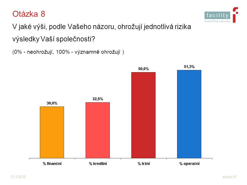 31.3.2015strana 41 Otázka 8 V jaké výši, podle Vašeho názoru, ohrožují jednotlivá rizika výsledky Vaší společnosti? (0% - neohrožují, 100% - významně