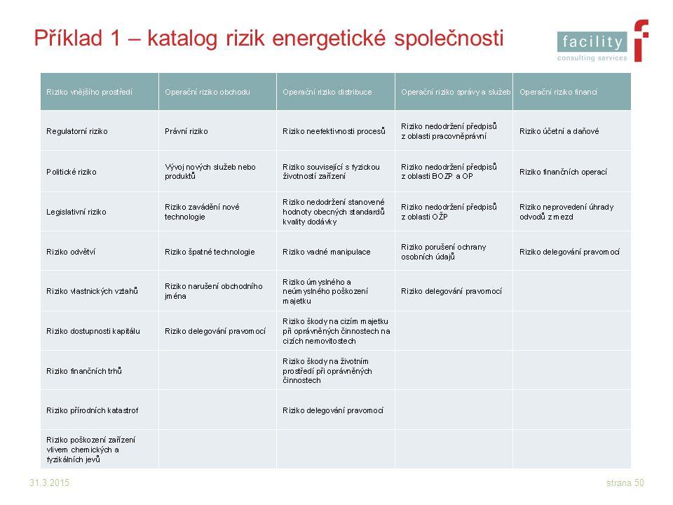 31.3.2015strana 50 Příklad 1 – katalog rizik energetické společnosti