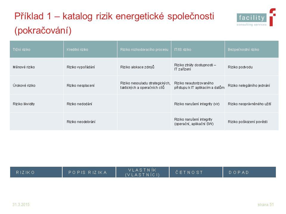 31.3.2015strana 51 Příklad 1 – katalog rizik energetické společnosti (pokračování)