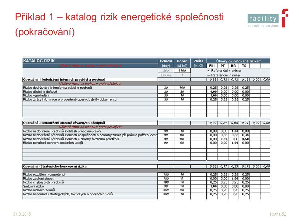 31.3.2015strana 52 Příklad 1 – katalog rizik energetické společnosti (pokračování)