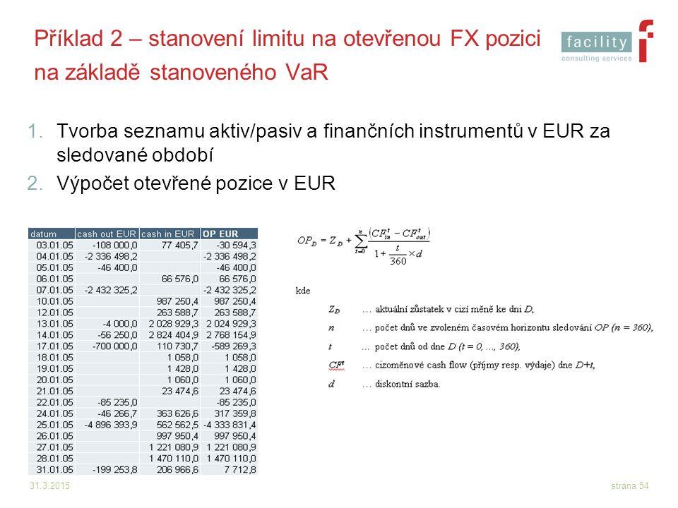 31.3.2015strana 54 Příklad 2 – stanovení limitu na otevřenou FX pozici na základě stanoveného VaR 1.Tvorba seznamu aktiv/pasiv a finančních instrument