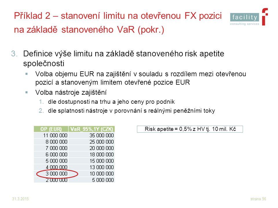 31.3.2015strana 56 Příklad 2 – stanovení limitu na otevřenou FX pozici na základě stanoveného VaR (pokr.) 3.Definice výše limitu na základě stanovenéh