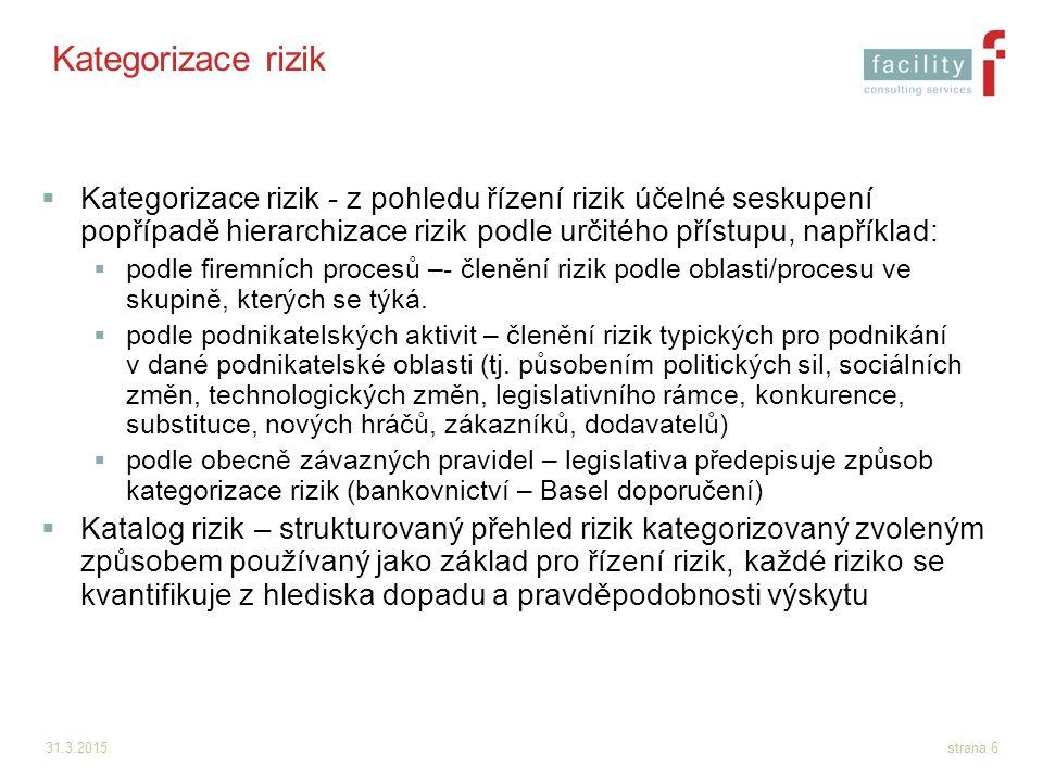 31.3.2015strana 6 Kategorizace rizik  Kategorizace rizik - z pohledu řízení rizik účelné seskupení popřípadě hierarchizace rizik podle určitého příst