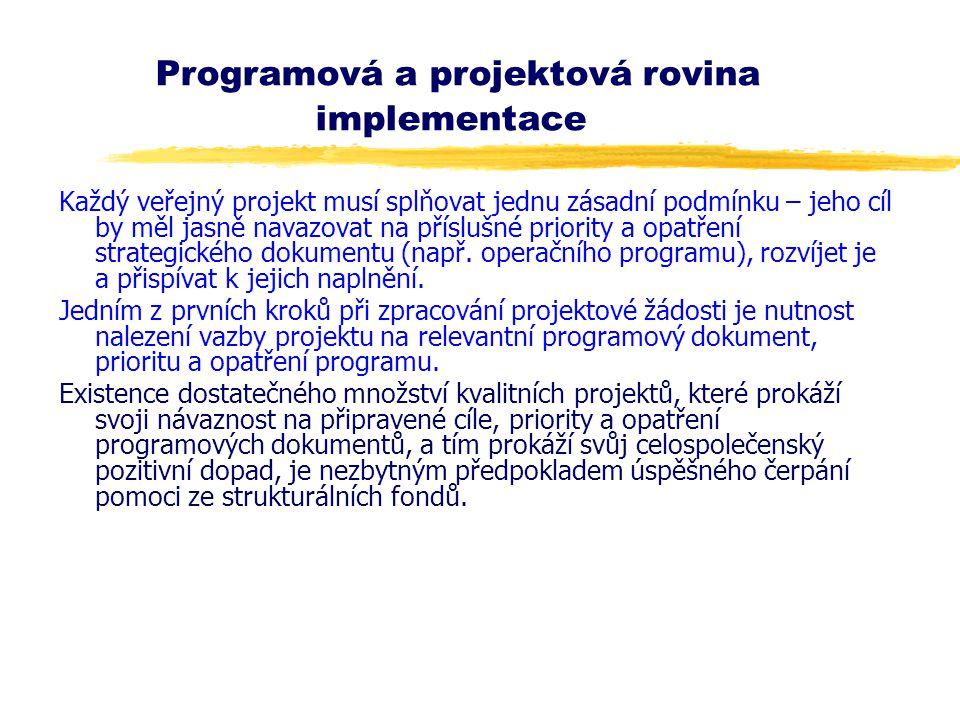 Programová a projektová rovina implementace Každý veřejný projekt musí splňovat jednu zásadní podmínku – jeho cíl by měl jasně navazovat na příslušné