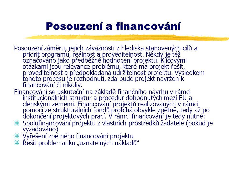 Posouzení a financování Posouzení záměru, jejich závažnosti z hlediska stanovených cílů a priorit programu, reálnost a proveditelnost. Někdy je též oz