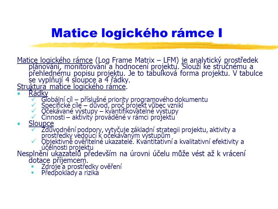 Matice logického rámce I Matice logického rámce (Log Frame Matrix – LFM) je analytický prostředek plánování, monitorování a hodnocení projektu. Slouží