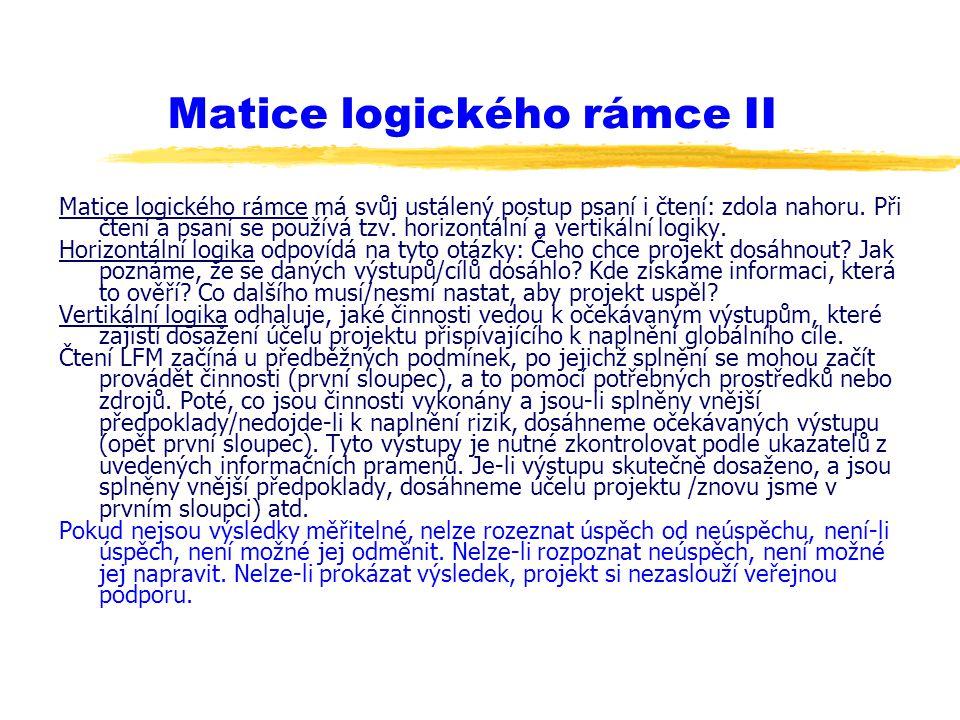 Matice logického rámce II Matice logického rámce má svůj ustálený postup psaní i čtení: zdola nahoru. Při čtení a psaní se používá tzv. horizontální a