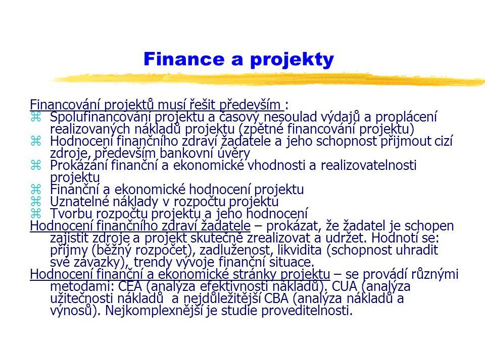 Finance a projekty Financování projektů musí řešit především : zSpolufinancování projektu a časový nesoulad výdajů a proplácení realizovaných nákladů