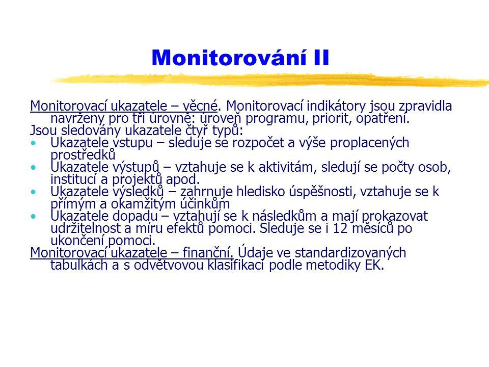 Monitorování II Monitorovací ukazatele – věcné. Monitorovací indikátory jsou zpravidla navrženy pro tři úrovně: úroveň programu, priorit, opatření. Js