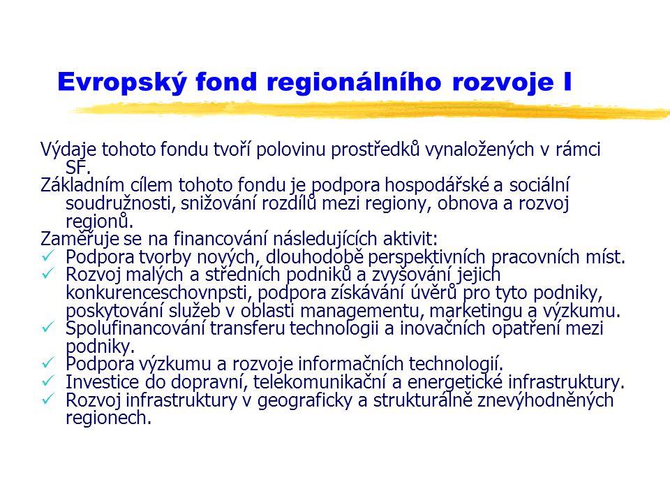 Evropský fond regionálního rozvoje I Výdaje tohoto fondu tvoří polovinu prostředků vynaložených v rámci SF. Základním cílem tohoto fondu je podpora ho