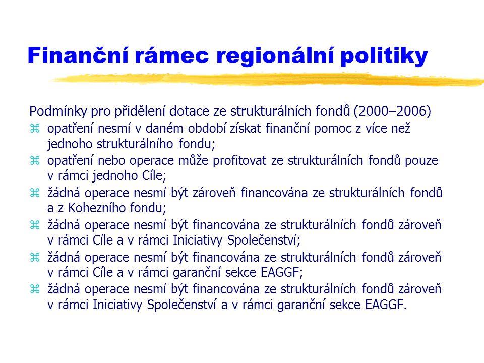 Finanční rámec regionální politiky Podmínky pro přidělení dotace ze strukturálních fondů (2000–2006) zopatření nesmí v daném období získat finanční po