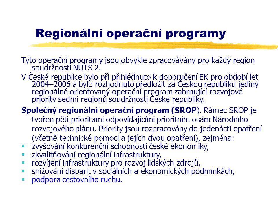 Regionální operační programy Tyto operační programy jsou obvykle zpracovávány pro každý region soudržnosti NUTS 2. V České republice bylo při přihlédn