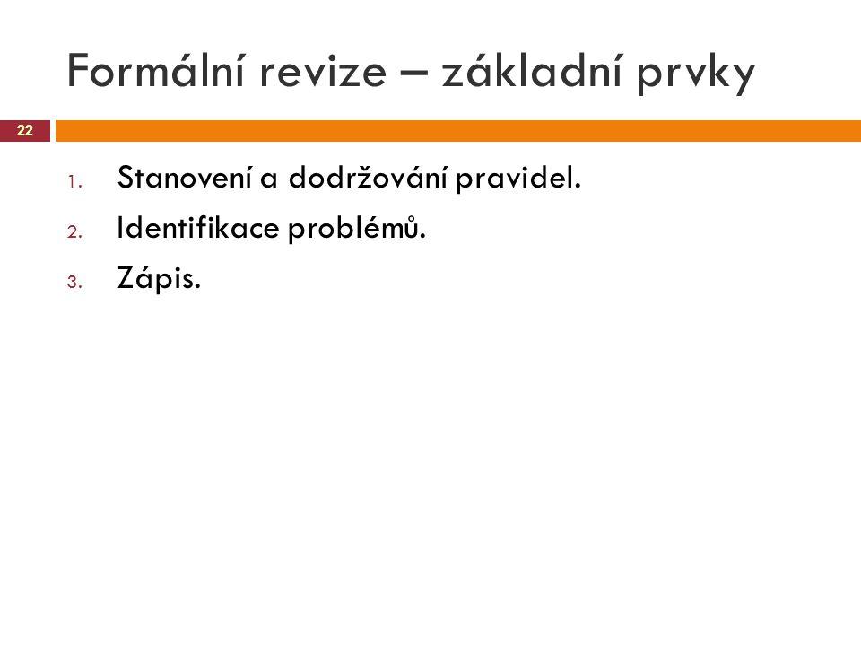 Formální revize – základní prvky 22 1. Stanovení a dodržování pravidel. 2. Identifikace problémů. 3. Zápis.