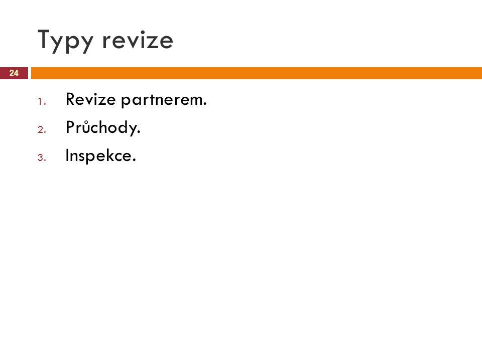 Typy revize 24 1. Revize partnerem. 2. Průchody. 3. Inspekce.