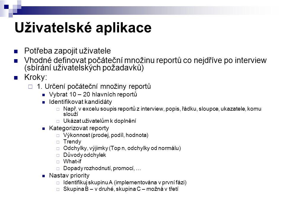 Uživatelské aplikace Potřeba zapojit uživatele Vhodné definovat počáteční množinu reportů co nejdříve po interview (sbírání uživatelských požadavků) K