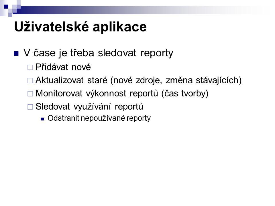 Uživatelské aplikace V čase je třeba sledovat reporty  Přidávat nové  Aktualizovat staré (nové zdroje, změna stávajících)  Monitorovat výkonnost re