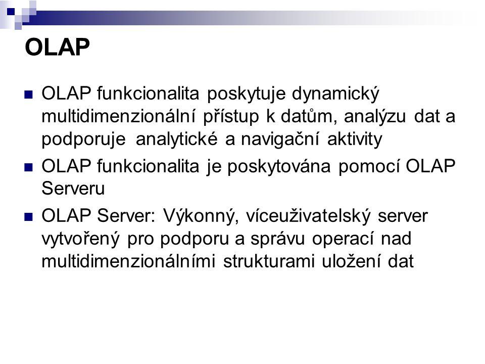 OLAP funkcionalita poskytuje dynamický multidimenzionální přístup k datům, analýzu dat a podporuje analytické a navigační aktivity OLAP funkcionalita