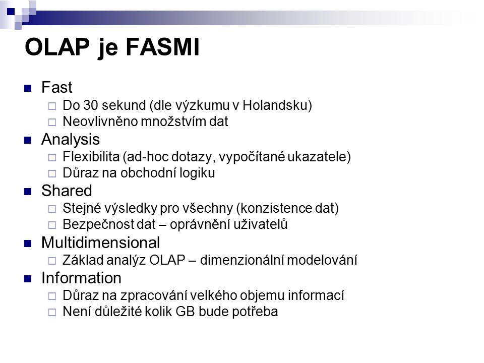 OLAP je FASMI Fast  Do 30 sekund (dle výzkumu v Holandsku)  Neovlivněno množstvím dat Analysis  Flexibilita (ad-hoc dotazy, vypočítané ukazatele) 