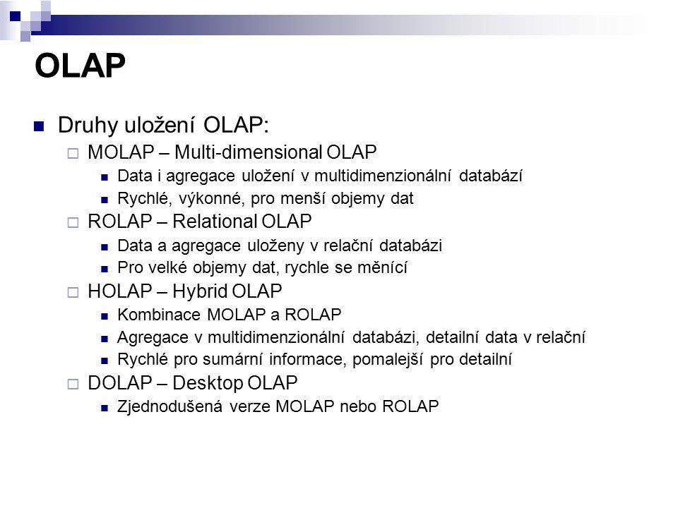 OLAP Druhy uložení OLAP:  MOLAP – Multi-dimensional OLAP Data i agregace uložení v multidimenzionální databází Rychlé, výkonné, pro menší objemy dat