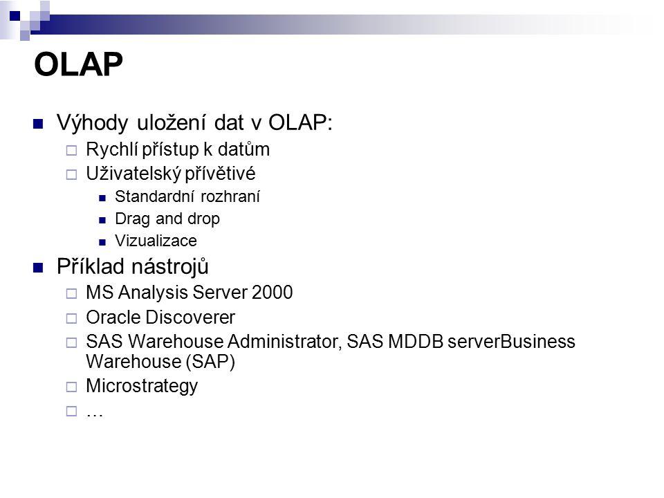 OLAP Výhody uložení dat v OLAP:  Rychlí přístup k datům  Uživatelský přívětivé Standardní rozhraní Drag and drop Vizualizace Příklad nástrojů  MS A