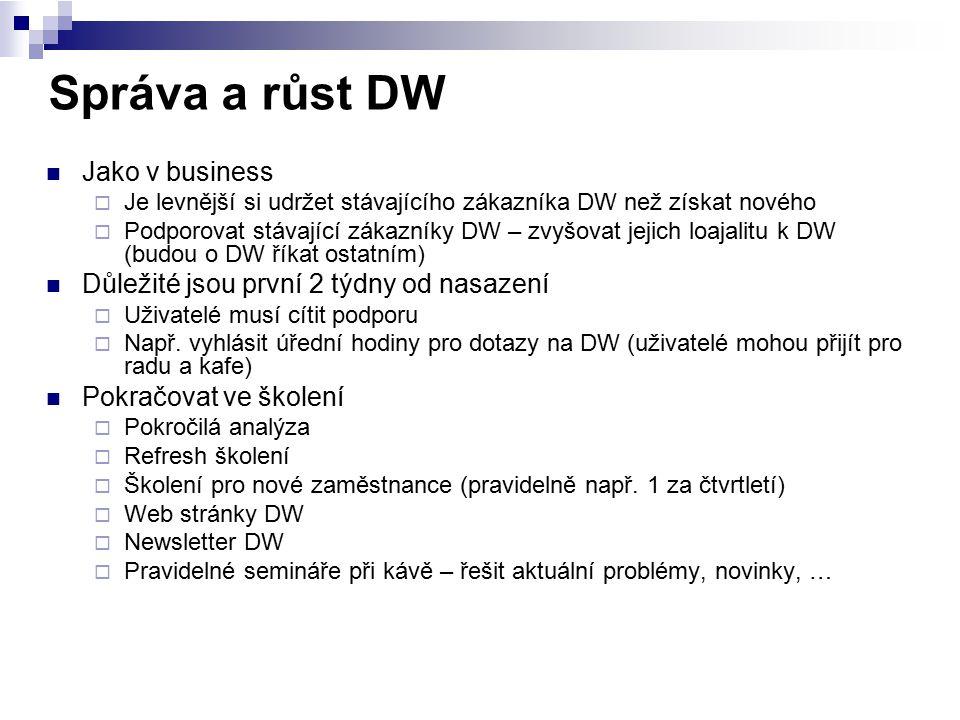 Správa a růst DW Jako v business  Je levnější si udržet stávajícího zákazníka DW než získat nového  Podporovat stávající zákazníky DW – zvyšovat jej