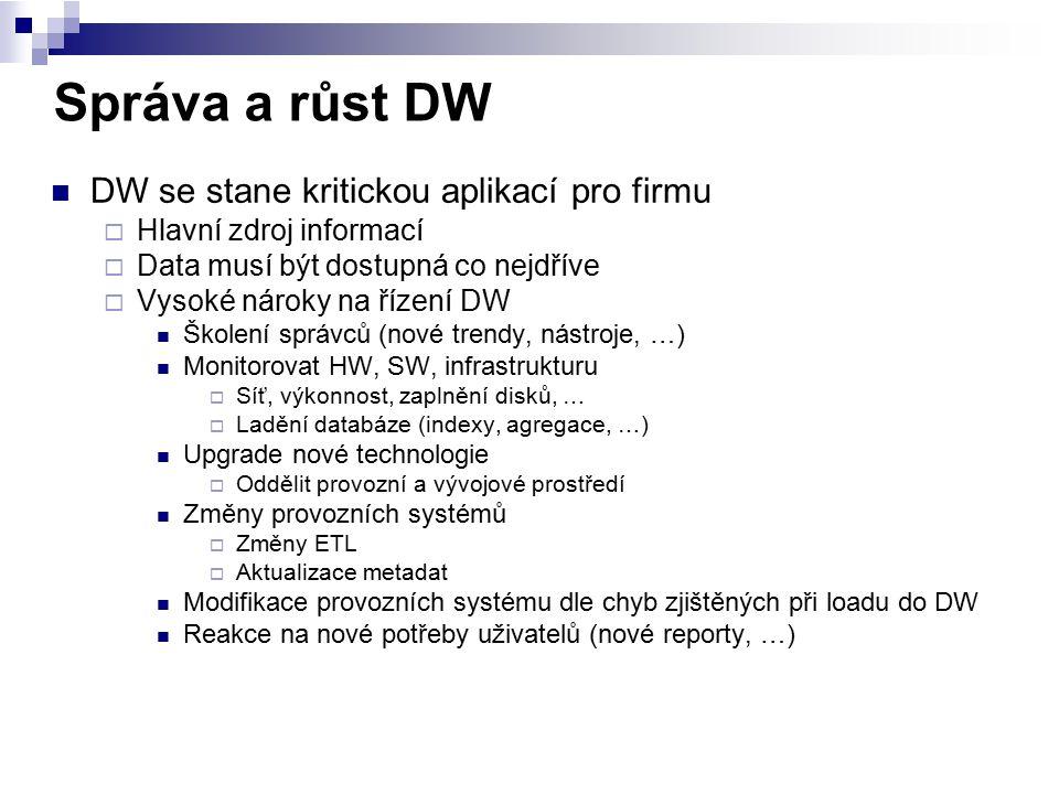 Správa a růst DW DW se stane kritickou aplikací pro firmu  Hlavní zdroj informací  Data musí být dostupná co nejdříve  Vysoké nároky na řízení DW Š