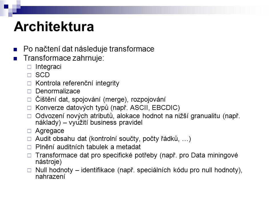 Architektura Po načtení dat následuje transformace Transformace zahrnuje:  Integraci  SCD  Kontrola referenční integrity  Denormalizace  Čištění