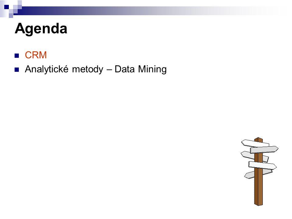 Agenda CRM Analytické metody – Data Mining